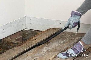 демонтаж деревянного пола своими руками